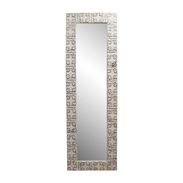 White Tin Maple Leaf Ceiling Tin Mirror For Sale - Image 6 of 6