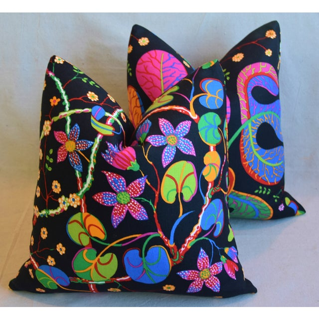 """Feather Designer Josef Frank """"Teheran"""" Floral Linen Feather/Down Pillows 18"""" Square - Pair For Sale - Image 7 of 11"""
