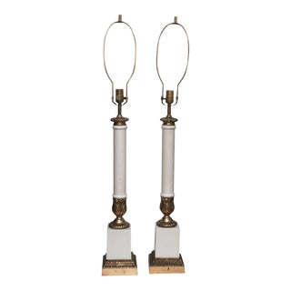 Very Tall Neoclassical Lamps, 1950 - a Pair