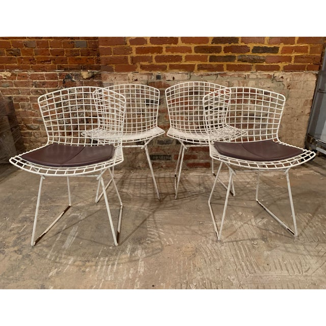 Vintage Mid Century Knoll Bertoia White Side Chairs - Set of 4 For Sale - Image 12 of 13