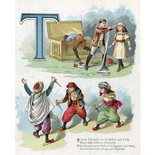 "Girls & Boys Alphabet Chromolithograph, Letter ""T"" For Sale"