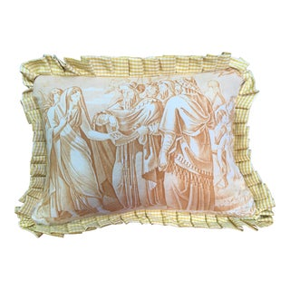 """Antique Toile """"The Chastity of Joseph"""" Pillow For Sale"""