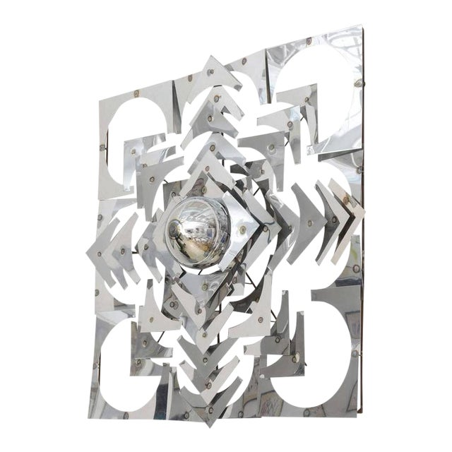 1970s, Mid-Century Modern, Pop Art, Polished Chrome, Square, 3-D Wall Sculpture For Sale