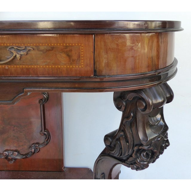 Carved Two-Drawer Console Table With Mahogany, Satinwood and Ebonized Wood For Sale - Image 4 of 13