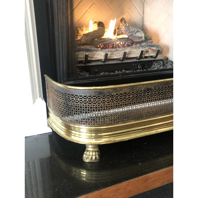 Transitional 1920s Antique Brass Fireplace Fender With Log Catcher For Sale - Image 3 of 11