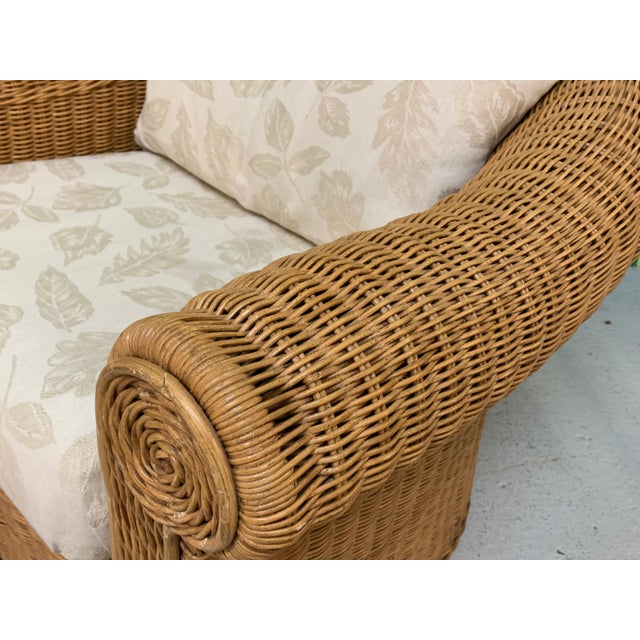 Wicker Club Chairs in the Style of Michael Taylor - a Pair For Sale - Image 10 of 11