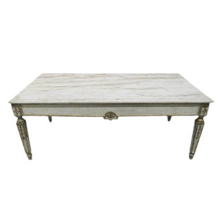 French Marble Top Coffee Table in Louis XIV Style For Sale