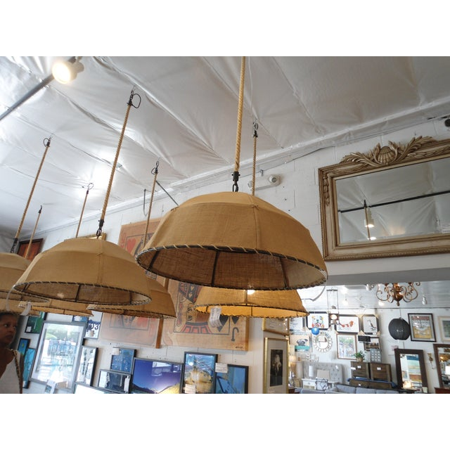 Restoration Hardware Burlap Pendant Light - Image 2 of 6