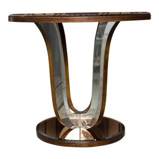 French Art Deco Mirrored Round End Table For Sale
