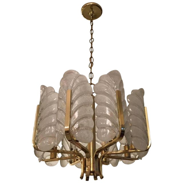 1950s Orrefors Carl Fagerlund Glass Leaves Brass Chandelier For Sale