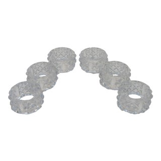 Faceted Crystal Napkin Rings - Set of 6 For Sale