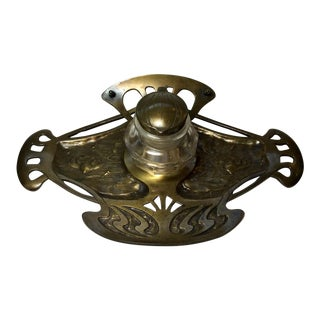 1900s Art Nouveau Bronze Inkwell From Austria Marked Geschtuzt For Sale
