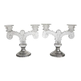 Crystal Candle Holders With Sheffield Sterling Silver Bases - a Pair For Sale