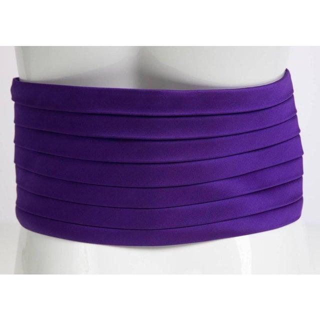 Modern 1970s Yves Saint Laurent Purple Pleated Silk Wide Cummerbund Belt For Sale - Image 3 of 6
