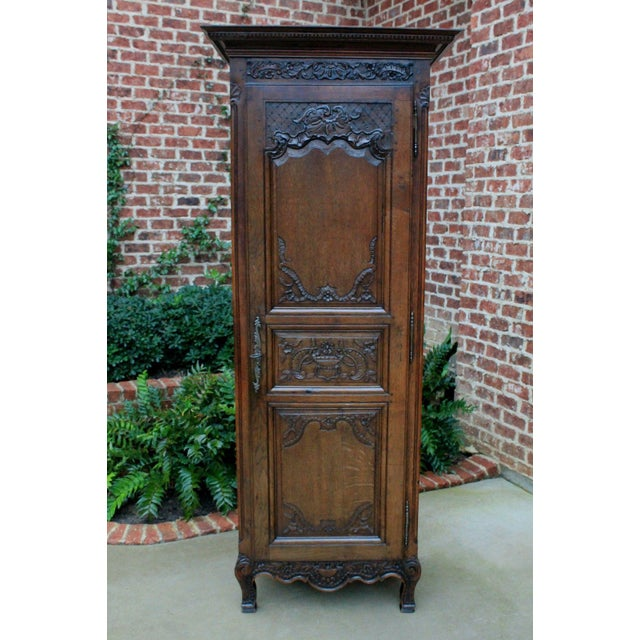 Antique French Country Oak 19th Century Liergues Bonnetiere Cabinet Armoire Wardrobe Bookcase For Sale - Image 10 of 13