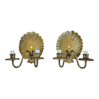 A Pair-Hollywood Regency Brushed Brass Shell Sconces For Sale