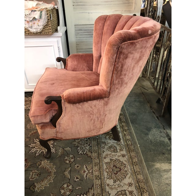 Vintage Rose Velvet Channel Back Wing Chair For Sale - Image 4 of 10