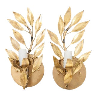 "French Vintage Gilt-Brass Single-Arm ""Laurel Leaf"" Sconces - a Pair For Sale"