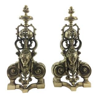 Napoleon III Bronze Andirons - A Pair For Sale
