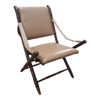 Tan Leather Folding Campaign Chair