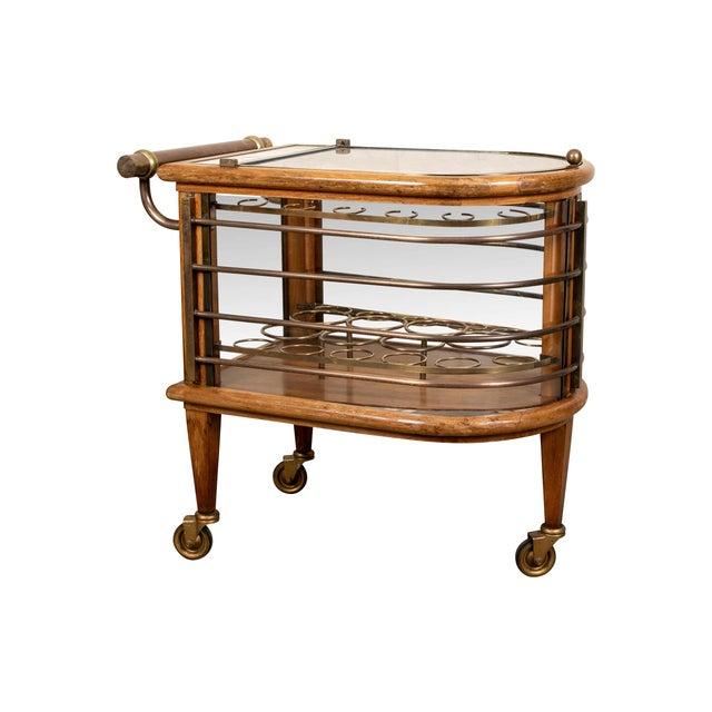 Vintage Walnut and Bronze Bar Cart For Sale - Image 10 of 10