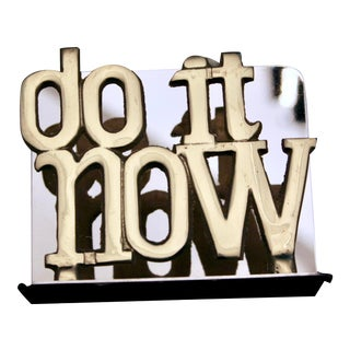 "1970s Vintage ""Do It Now"" Brass Letter Holder For Sale"