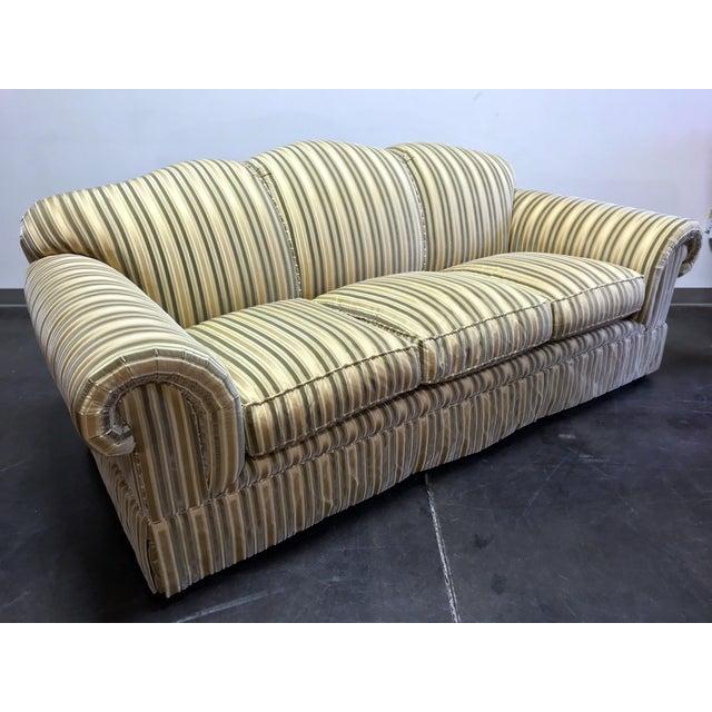 Cottage Baker Roll Arm Sofa in Cut Velvet For Sale - Image 3 of 13