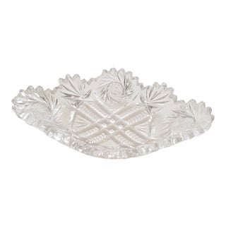 1930s Vintage Decorative Cut Style Crystal Dish For Sale