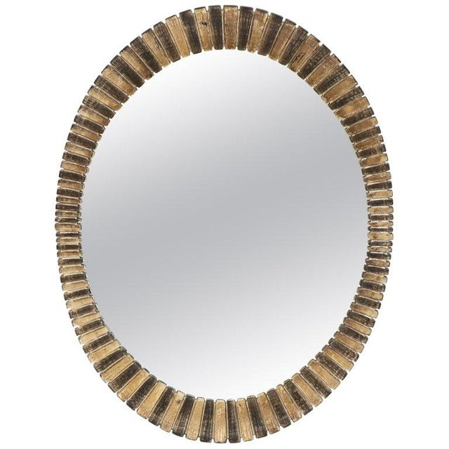 Scalloped Edge Oval Mid-Century Modern Mirror For Sale - Image 9 of 9