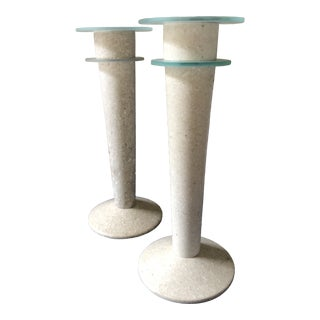1980's Postmodern Travertine Candle Holders - a Pair For Sale