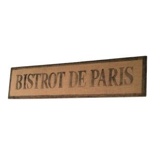 Paris Bistro Sign For Sale