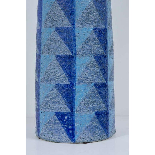 Ceramic Bitossi Tall Blue Geometric Ceramic Vase For Sale - Image 7 of 10