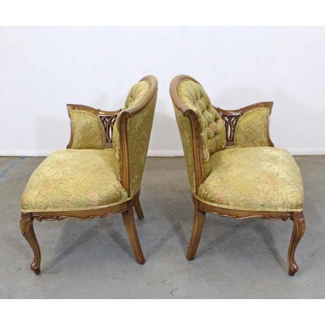 Mid 20th Century Pair of Vintage French Tufted Fireside Ladies Parlor Arm Chairs For Sale - Image 5 of 13
