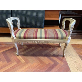 French Provincial Wood + Stripe Upholstery Bench Preview