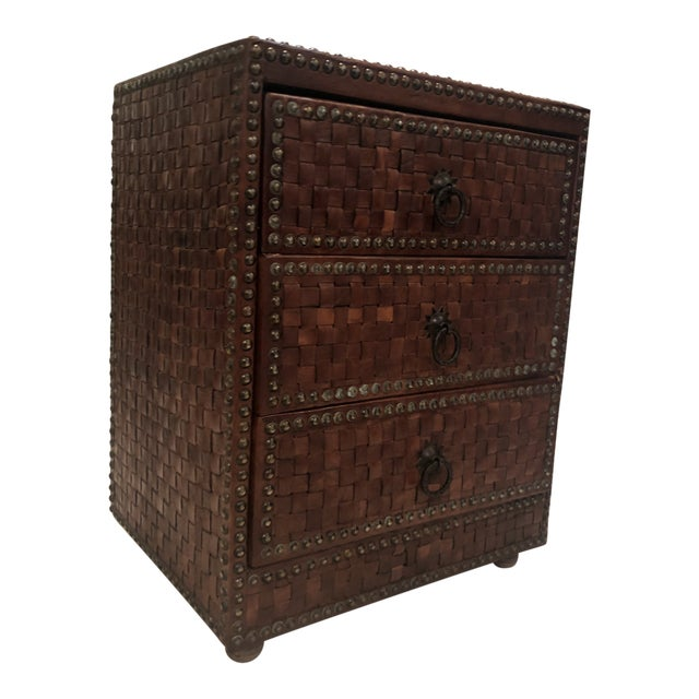 Boho Chic Brown Weaved Leather Chest of Drawers For Sale