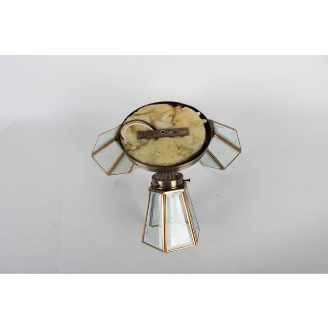 Pair of 3-Lamp Brass Ceiling Fixtures With Glass Shades For Sale In Detroit - Image 6 of 7