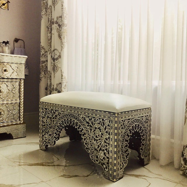 Mother of Pearl Inlay Bench For Sale In Los Angeles - Image 6 of 8