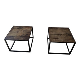Industrial Abc Home Metal Leather Top Side/Coffee Tables - Set of 2 For Sale