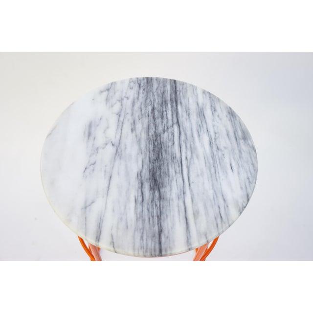 Carrara Marble & Orange Metal Fern Stand Pedestal Table - Image 6 of 11