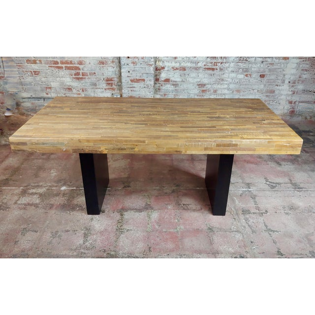 Vintage Butcher Block style Dining table w/Ebonized Base size 72 x 36 x 30""