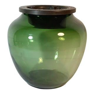 1990s Green Glass Vase With Plantanova Flower Frog Insert For Sale