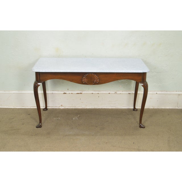 *STORE ITEM #: 18268 Kittinger Colonial Williamsburg CWISS Mahogany Marble Top Mixing Table Console AGE / ORIGIN: Approx....