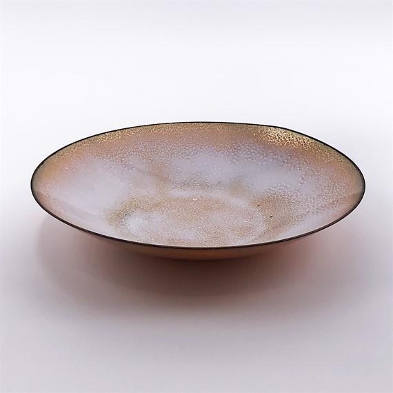 Mid-Century Modern Signed Leon Statham Enamel on Copper Bowl, C. 1950 For Sale - Image 3 of 3