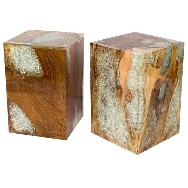 Pair of organic modern cube tables in natural and bleached teak root wood with cracked resin design. Polished finish with...