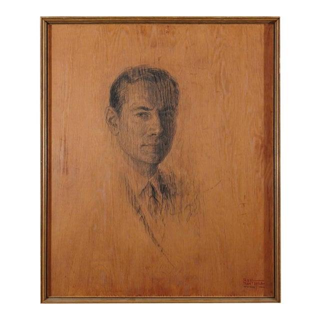 Raul Manteola, Portrait of a Gentleman, New York, 1964, Rare Pencil on Wood For Sale