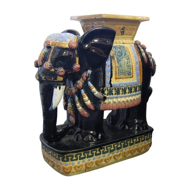 Vintage Polychrome Elephant Garden Stool - Image 1 of 7