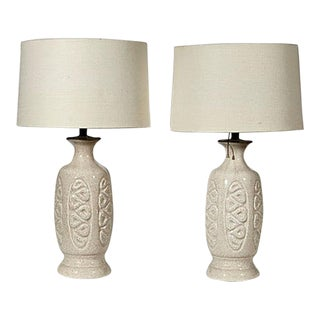 1960s Asian-Style Ceramic Table Lamps, Pair For Sale