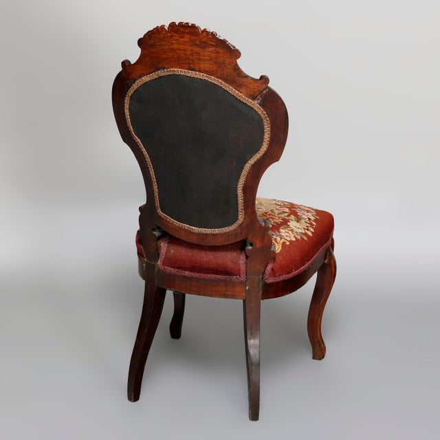 Mid 19th Century Antique Victorian Carved Walnut and Floral Needlepoint Parlor Chair For Sale - Image 4 of 7