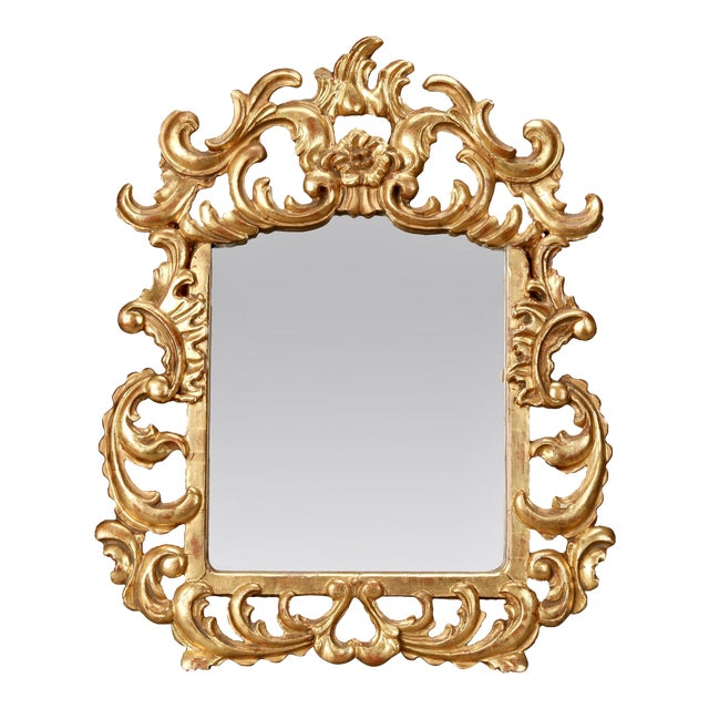 Italian Gilt Mirror With Scrolling For Sale