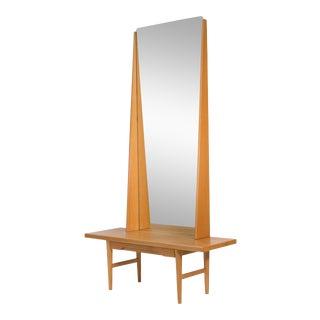 1950s Emmaboda Mobelfabrik Oak Vanity or Entry Table For Sale